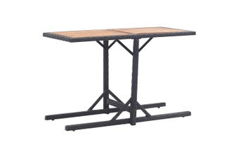 Garden Table Black Solid Acacia Wood and Poly Rattan