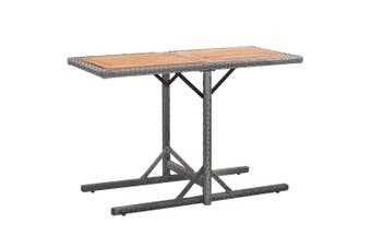 Garden Table Anthracite Poly Rattan and Solid Acacia Wood