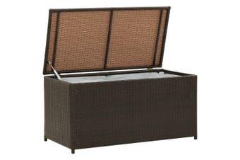 Garden Storage Box Poly Rattan 100x50x50 cm Brown