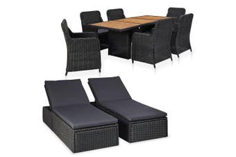 9 Piece Outdoor Lounge Set Poly Ratten Black