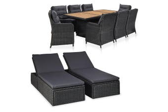 11 Piece Outdoor Lounge Set Poly Rattan Black