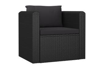 Single Sofa with Cushions Poly Rattan Black
