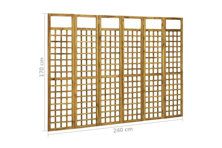 6-Panel Room Divider/Trellis Solid Acacia Wood 240x170 cm