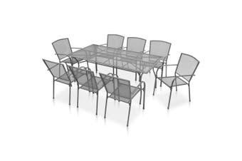 9 Piece Outdoor Dining Set Steel Anthracite