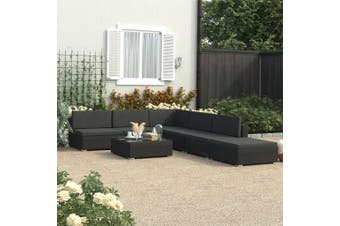 6 Piece Garden Lounge Set Black with Cushions Poly Rattan