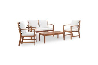 4 Piece Garden Lounge Set with Cushions Solid Acacia Wood