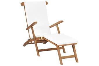 Deck Chair with Cushion Cream White Solid Teak Wood