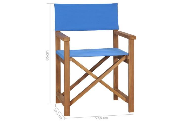 Director's Chair Solid Teak Wood Blue