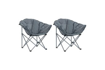 Folding Moon Chairs 2 pcs Grey