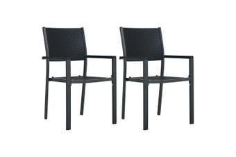 Garden Chairs 2 pcs Black Plastic Rattan Look