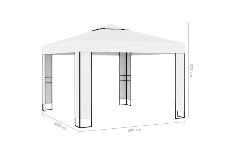 Gazebo with Double Roof 3x3 m White