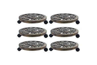 Plant Trolleys 6 pcs Bronze 38 cm Plastic