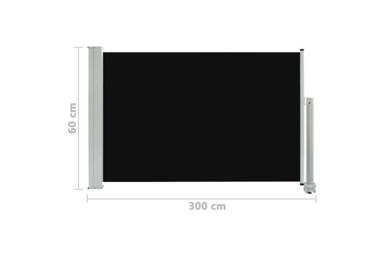 Patio Retractable Side Awning 60x300 cm Black