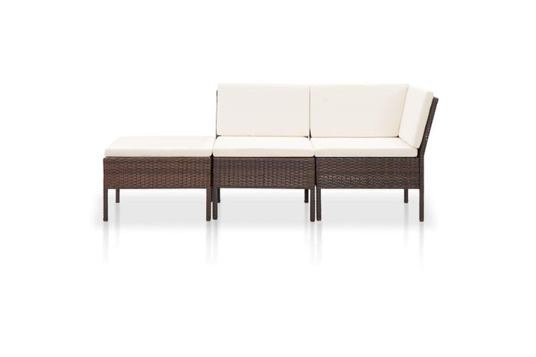 3 Piece Garden Lounge Set with Cushions Poly Rattan Brown
