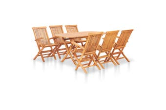 7 Piece Folding Outdoor Dining Set Solid Teak Wood