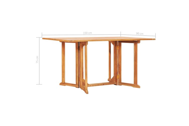 Folding Butterfly Garden Table 150x90x75 cm Solid Teak Wood