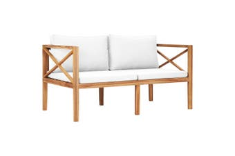 Garden Bench with Cream Cushions Solid Teak Wood