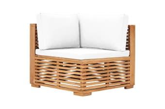 Garden Corner Sofa with Cream Cushion Solid Teak Wood