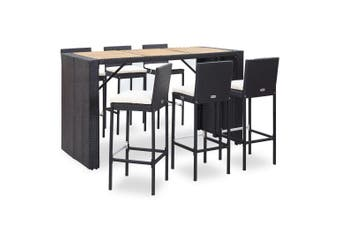 7 Piece Outdoor Bar Set with Cushions Poly Rattan Black