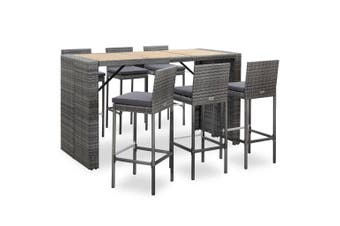 7 Piece Outdoor Bar Set with Cushions Poly Rattan Grey