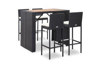 5 Piece Outdoor Bar Set Poly Rattan and Acacia Wood Black