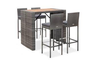 5 Piece Outdoor Bar Set Poly Rattan and Acacia Wood Grey