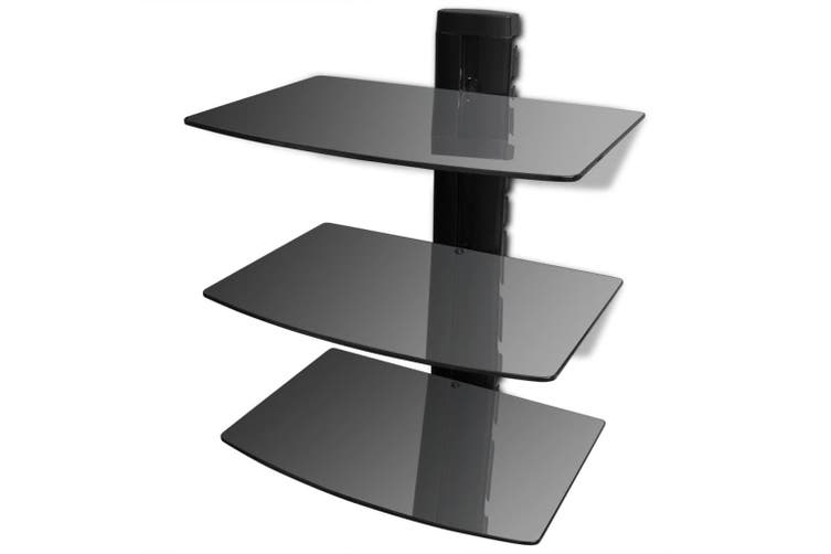 3 Tier Wall Mounted Gl Dvd Shelf