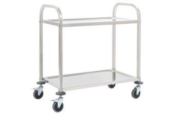 2-Tier Kitchen Trolley 107x55x90 cm Stainless Steel