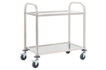 2-Tier Kitchen Trolley 87x45x83.5 cm Stainless Steel