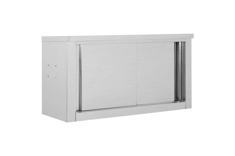 Kitchen Wall Cabinet with Sliding Doors 90x40x50 cm Stainless Steel