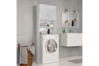 Washing Machine Cabinet High Gloss White 64x25.5x190 cm Chipboard