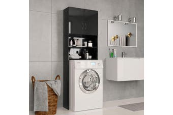 Washing Machine Cabinet High Gloss Black 64x25.5x190 cm Chipboard