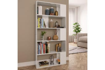Book Cabinet/Room Divider High Gloss White 80x24x159cm Chipboard