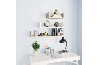 Wall Display Shelf 3 pcs White and Sonoma Oak Chipboard