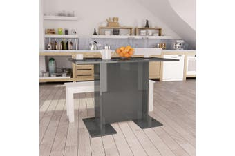 Dining Table High Gloss Grey 110x60x75 cm Chipboard