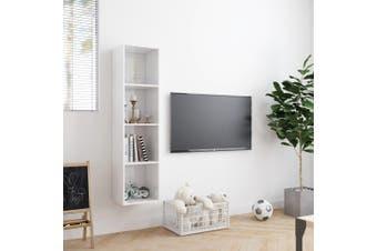 Book Cabinet/TV Cabinet High Gloss White 143x30x36 cm