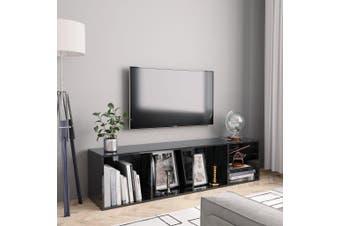 Book Cabinet/TV Cabinet High Gloss Black 143x30x36 cm