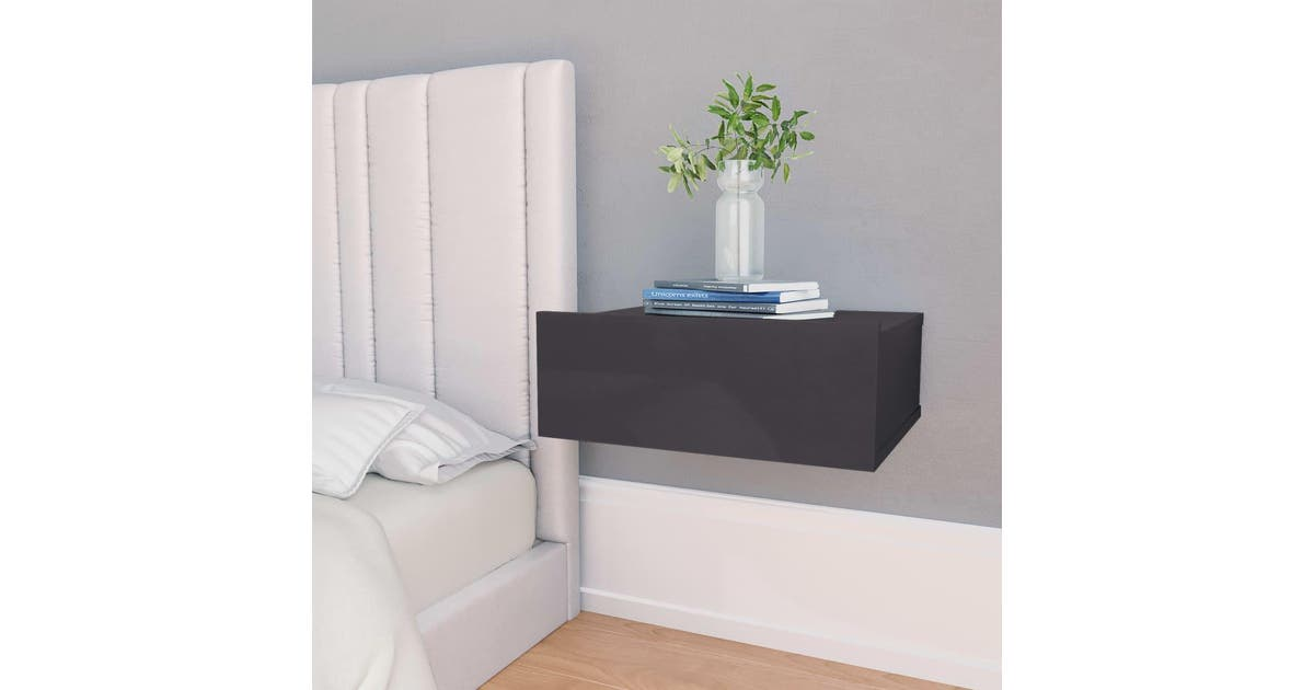 vidaxl vidaxl floating nightstands 2 pcs high gloss grey 40x30x15 cm chipboard