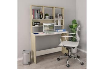 Desk with Shelves White and Sonoma Oak 110x45x157 cm Chipboard