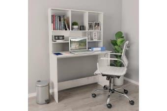 Desk with Shelves High Gloss White 110x45x157 cm Chipboard