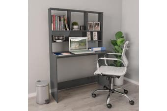 Desk with Shelves High Gloss Grey 110x45x157 cm Chipboard
