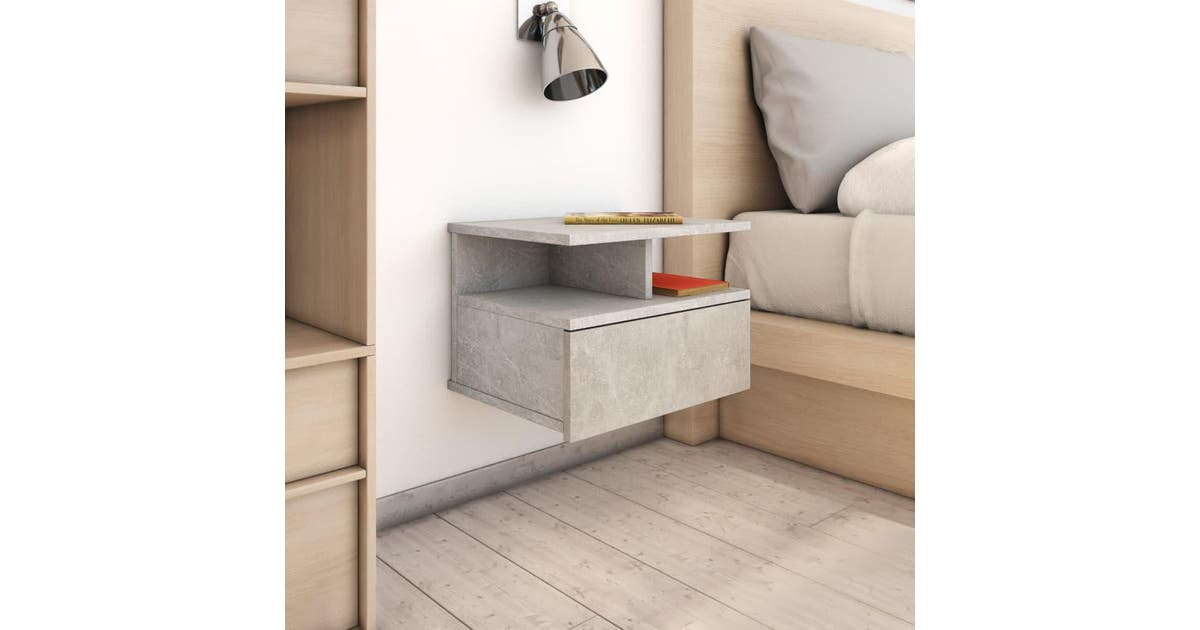 vidaxl vidaxl floating nightstand concrete grey 40x31x27 cm chipboard