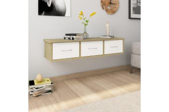 Wall-mounted Drawer Shelf White and Sonoma Oak 90x26x18.5 cm Chipboard