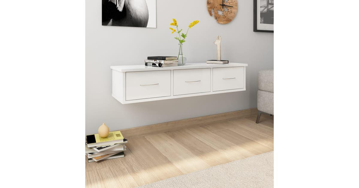 vidaxl vidaxl wall mounted drawer shelf high gloss white 90x26x185 cm chipboard