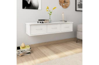 Wall-mounted Drawer Shelf High Gloss White 90x26x18.5 cm Chipboard