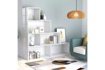 Book Cabinet/Room Divider High Gloss White 155x24x160 cm Chipboard