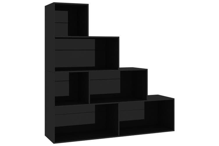 Book Cabinet/Room Divider High Gloss Black 155x24x160 cm Chipboard
