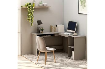 L-Shaped Corner Desk Grey 120x140x75 cm Chipboard