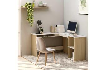 L-Shaped Corner Desk White and Sonoma Oak 120x140x75 cm Chipboard