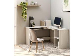 L-Shaped Corner Desk High Gloss White 120x140x75 cm Chipboard